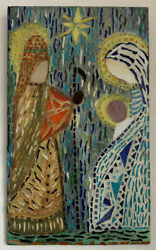 Mid Century Modernist Abstract Relgious Mosaic Wall Plaque Hanging