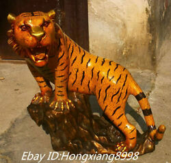 23and039and039 Old China Pure Bronze Cloisonne Enamel Ferocious Animal Tiger Tigers Statue