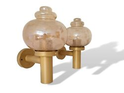 Pair Vintage 50s Mcm Mid Century Modern Gold Metal Glass Wall Sconce Light Lamps