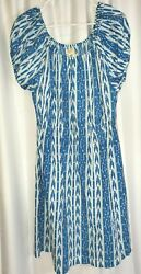 Happy by Pink Chicken Large Peasant Style Geometric Print Blue and White Dress