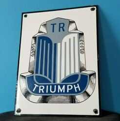 Vintage Triumph Porcelain Gas Auto Service Station Dealership Pump Sign