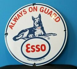 Vintage Esso Gasoline Porcelain Gas Guard Dog Service Station Pump Plate Sign