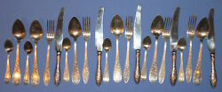Antique Russian Silver Plated Set 6 Spoons 5 Knives 5 Forks 6 Desert Spoons