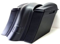 97-08 Harley 6 Saddlebags Overlay Fender 6.5 2 Lids No Exhaust Cutout
