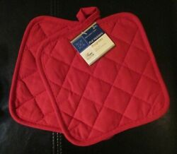 Home Collection Set of 2 Red Pot Holders
