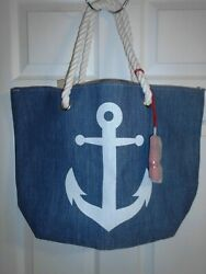 MAGID BLUE WHITE STRAW ANCHOR BEACH BAG TOTE PURSE NEW WITH TAG  $12.99