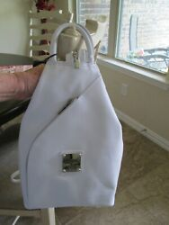 Valentina Made in Italy Sling Backpack Leather White NWT $138.99