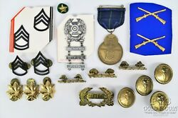 Army Rotc Us Military Group Asst 1930s Wwii Expert Rifleman,pins, Buttons 20544