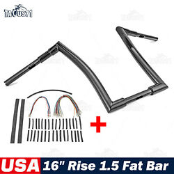16 Rise Handlebar Fat 1.5 Ape Bar For Harley Road Glide 07-13 + Extension Wire