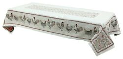 Heavy Provencal Jacquard Woven Tablecloth Lafayette Chickens 57 X 98 France
