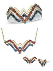 Wonder Woman Collection Ring Earring Pendant Set Blue Sapphire And Red Garnet Her