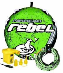 Rebel 54 Inch 1 Person Durable Red Towable Tube Kit W/rope And 12v Pump Multi