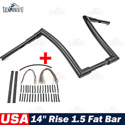 Rise 14and039and039 Ape Fat Bar 1-1/2 Handlebar For Harley Road Glide + Extension Wire