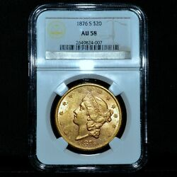 1876-s 20 Gold Liberty ✪ Pcgs Au-58 ✪ Almost Unc Double Eagle Scarce ◢trusted◣