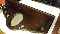Antique Wooden Coat/hat Rack With Mirror And Shelf. Wood Has Dark Stain Finish.