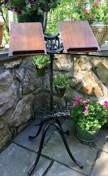 Antique Cast Iron Columbia Book Dictionary Stand By J. Anstice And Co Patent 1895