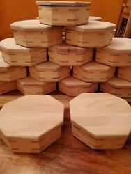 Handmade Octagon Wooden Box W/ Hinged Lid And Felt Lined. Unfinished, Lot Of 32