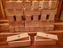 Handmade, Hand Carved Rectangular Wooden Box W/cover. Unfinished, Diy, Lot Of 35
