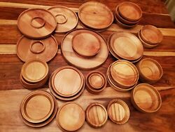 118-piece Mixed Unfinished Wood Plates, Bowls, Trays, Etc, Various Wood Types