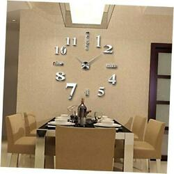 3D DIY Mirror Surface Wall Clocks Modern Design Living Room Decorative Silver