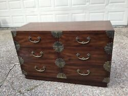 Vintage Henredon Tansu Campaign Hall Asian Style 6 Drawer Double Chest/dresser