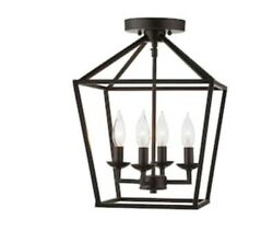 Home Decorators Collection Weyburn 16.5 in. 4 Light Bronze Semi Flush Mount