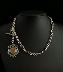 Victorian Sterling Silver Double Albert Chain Watch Chain Fob