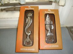 Two New In Box Tommy Bahama Silver Metal Figural Seahorse And Fish Bottle Openers