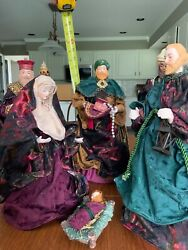 """Christmas Nativity Scene 14"""" To 16"""" Cloth Dressed Figures Beautiful 25 Years Old"""