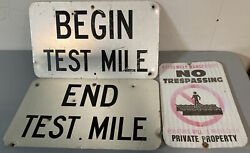 Pa Railroad Vintage Test Mile Private Prop Tin Signs