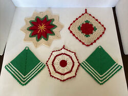 5 Vintage Red, White And Green Hand Crocheted Hot Pads Pot Holders