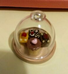 Dollhouse Miniature Dessert Plate Cake Stand With Glass Dome - 112 Scale 4 Cake