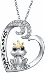 Frog Necklace Love Heart Pendant Sterling Silver Cz Jewelry Gift For Women Girls