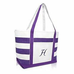 Monogrammed Beach Bag and Totes for Women Personalized Gifts Purple A Z H $34.39