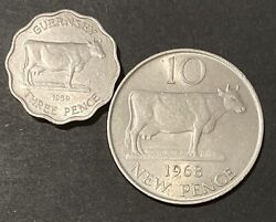 1959 Guernsey Three Pence And 1968 Guernsey 10 New Pence