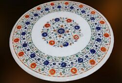 42 Inches Marble Hallway Table Top Hand Crafted Dining Table With Floral Pattern