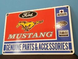 Vintage Ford Automobile Porcelain Gas Service Mustang Pump Plate Ad Service Sign