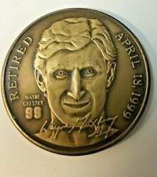 Wayne Gretzky Bronze Coin Ny Rangers 1999 Retired Limited And Numbered