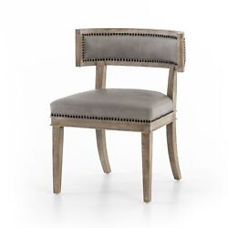 32 H Hand Crafted Curved Back Modern Dining Chair Grey Chair Leather Button