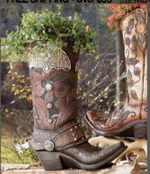 Western Cowboy Boot Resin Plant Vase Bfd M8