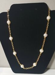 Honora Italy H Bronze Gold Plated White Pearl Necklace 20quot; $29.99