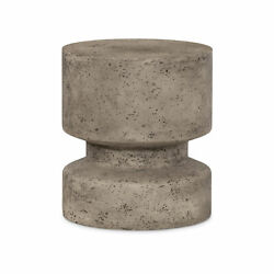 17 H Solid Concrete Outdoor Indoor Table Statue Grey Industrial Cylinder Round