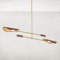 56 W Gold Brass Double Pendant Light Top Grain Leather Shade Abstract Wood