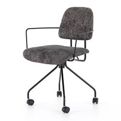 34 H Contemporary Office Desk Chair Textured Black Fabric Metal Rod Arm Wheel
