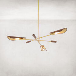 52 W Gold Brass Chandelier Light Top Grain Leather Shade Abstract Wood Accent