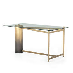 60 W Brass Finished Metal Iron Desk Office Artisan Cylinder Tempered Glass Top