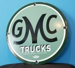 Vintage General Motors Porcelain Gas Gmc Auto Trucks Sales Service Dealer Sign