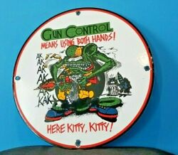 Vintage Rat Fink Porcelain Gas Gun Control Ed Roth Hot Rod Service Ak 47 Sign