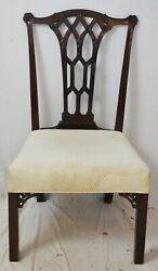 Antique Mahogany Irish Chinese Chippendale Style Carved Side Chair