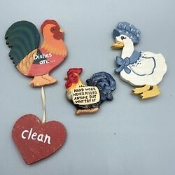 Collectible Refrigerator Magnets Lot Of 3, Chicken Theme Wood And Ceramic